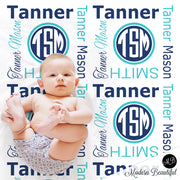 Monogram baby name blanket