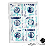 Monogram baby name blanket, aqua and navy, monogram baby blanket, baby swaddling blankets, baby girl or boy, baby name blanket, baby shower gift, (CHOOSE COLORS)