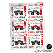 Monster truck baby name blanket, red and black, monster truck baby blanket, baby swaddling blankets, baby girl or boy, baby name blanket, baby shower gift, (CHOOSE COLORS)
