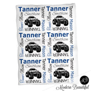 Monster truck baby name blanket, blue and black, monster truck baby blanket, baby swaddling blankets, baby girl or boy, baby name blanket, baby shower gift, (CHOOSE COLORS)