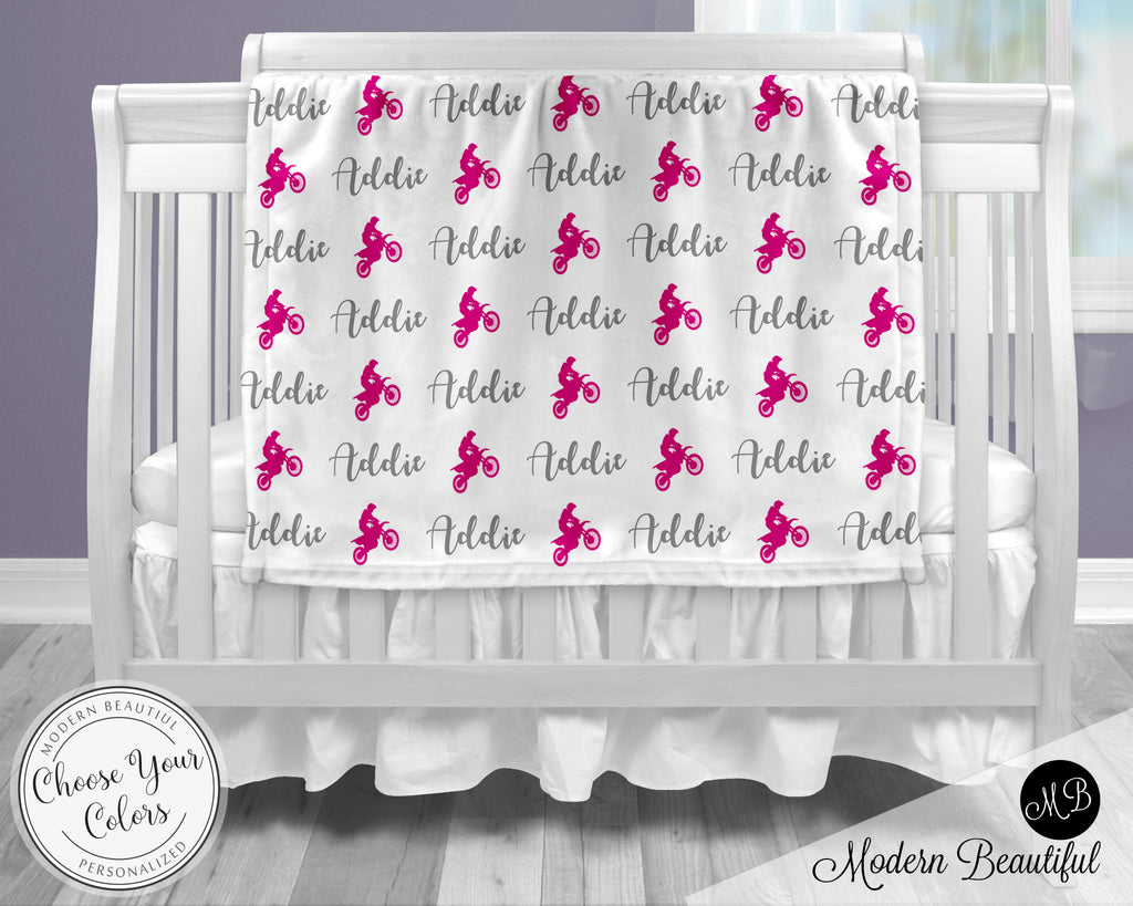 Motocross dirt bike baby girl blanket, pink and gray motocross name blanket, custom dirt bike personalized baby gift, swaddle baby blanket, personalized blanket, boy or girl blanket, choose colors