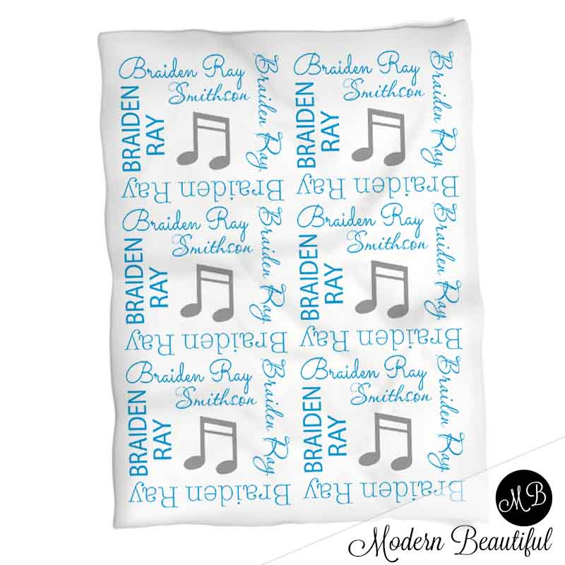 Boy musical note name blanket in blue and gray, personalized boy