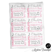 Baby girl music note blanket, pink and gray name blanket, music note swaddling blanket, music baby gift, girl baby shower gift, choose colors