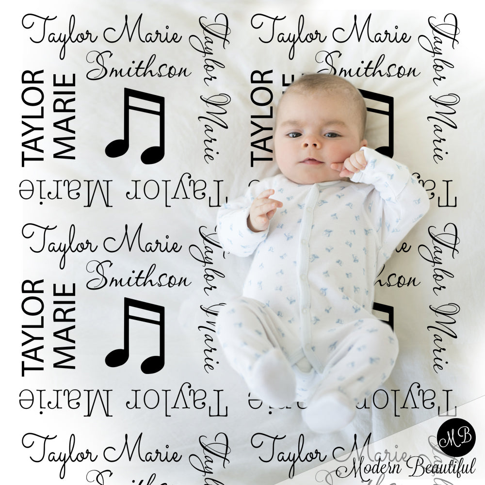 music note baby blanket