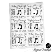 Baby girl music note blanket, black and white name blanket, music note swaddling blanket, music baby gift, girl baby shower gift, choose colors