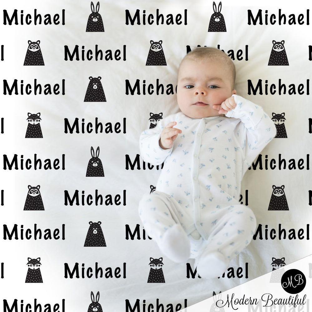 Black and white woodland animals blanket, Scandinavian style baby boy name blanket, baby boy shower gift, boy personalized blanket, choose colors