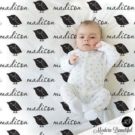 black and white baby name blanket