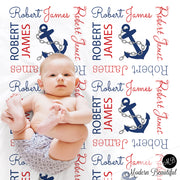 Nautical anchor baby name blanket
