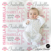 Owl Theme personalized child blanket for girl