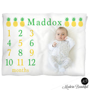 Pineapple Milestone Name Blanket for Baby Boy, personalized growth baby gift, personalized photo prop blanket - choose your colors