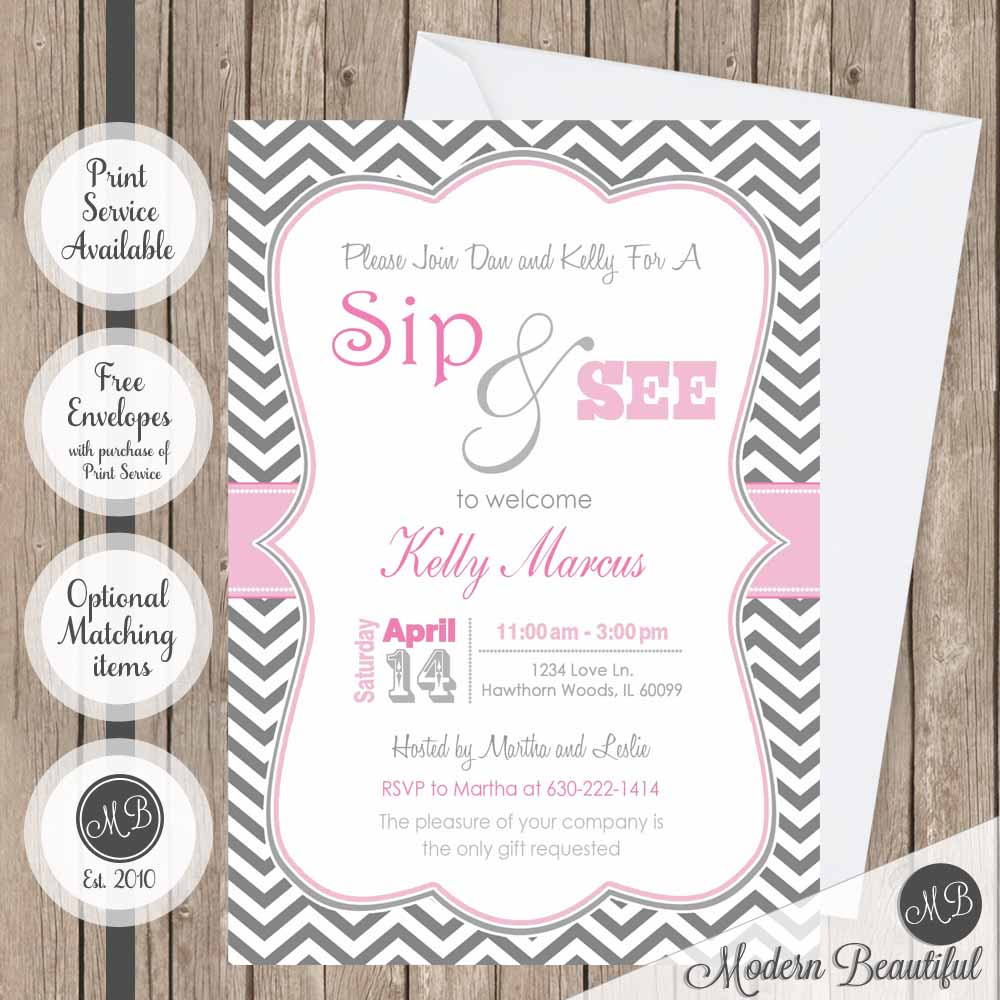 Pink And Gray Girl Sip And See Baby Shower Invitation Sip And See
