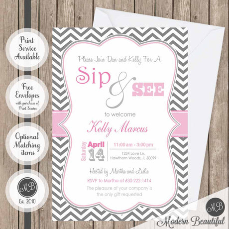 Pink and gray girl sip and see baby shower invitation