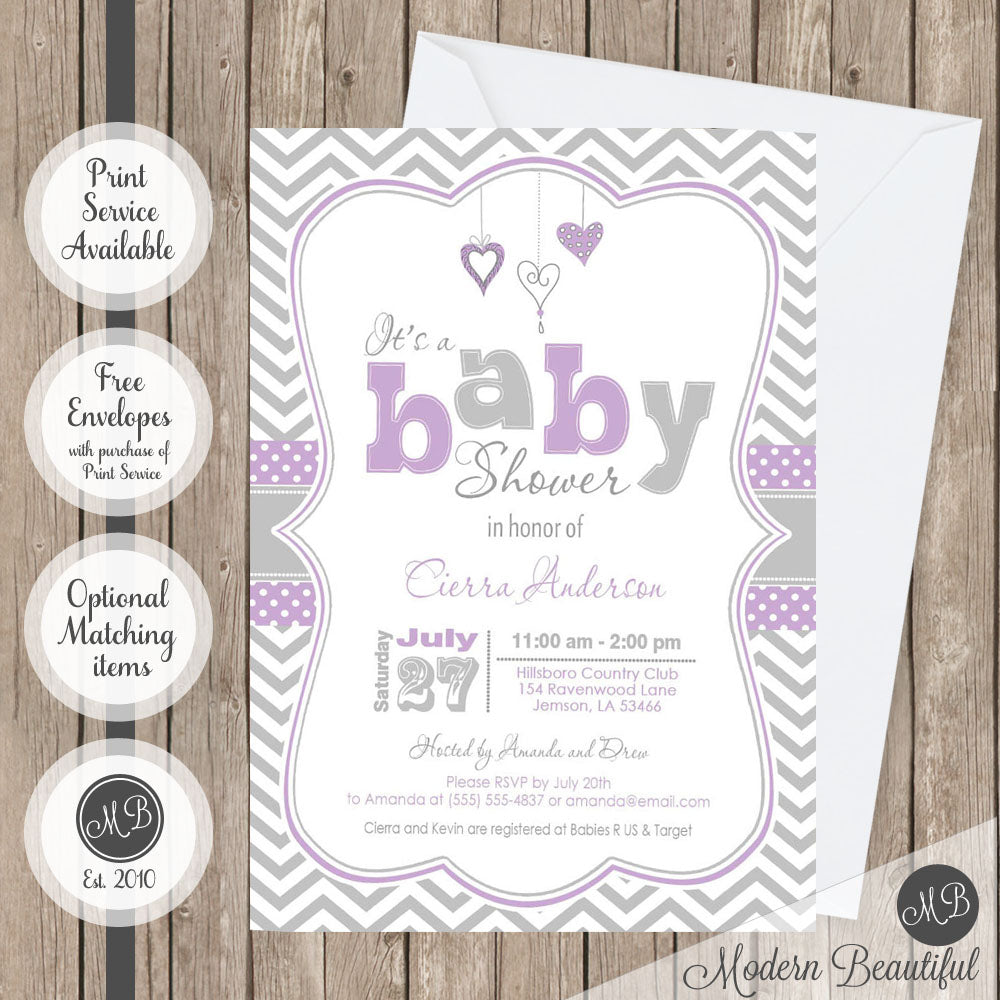 Purple and gray baby shower invitation, hearts baby shower ...