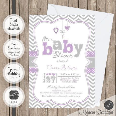 purple and gray heart baby shower invitation