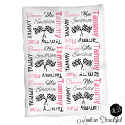 Hot pink and black baby girl drag racing name blanket, racing swaddling blanket, baby girl race flag blanket, girl baby shower gift, (CHOOSE COLORS)
