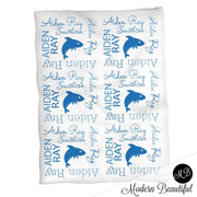 Shark name baby blanket, personalized boy shark baby gift, shark theme blanket, boy name blanket, personalized blanket, (CHOOSE COLORS)