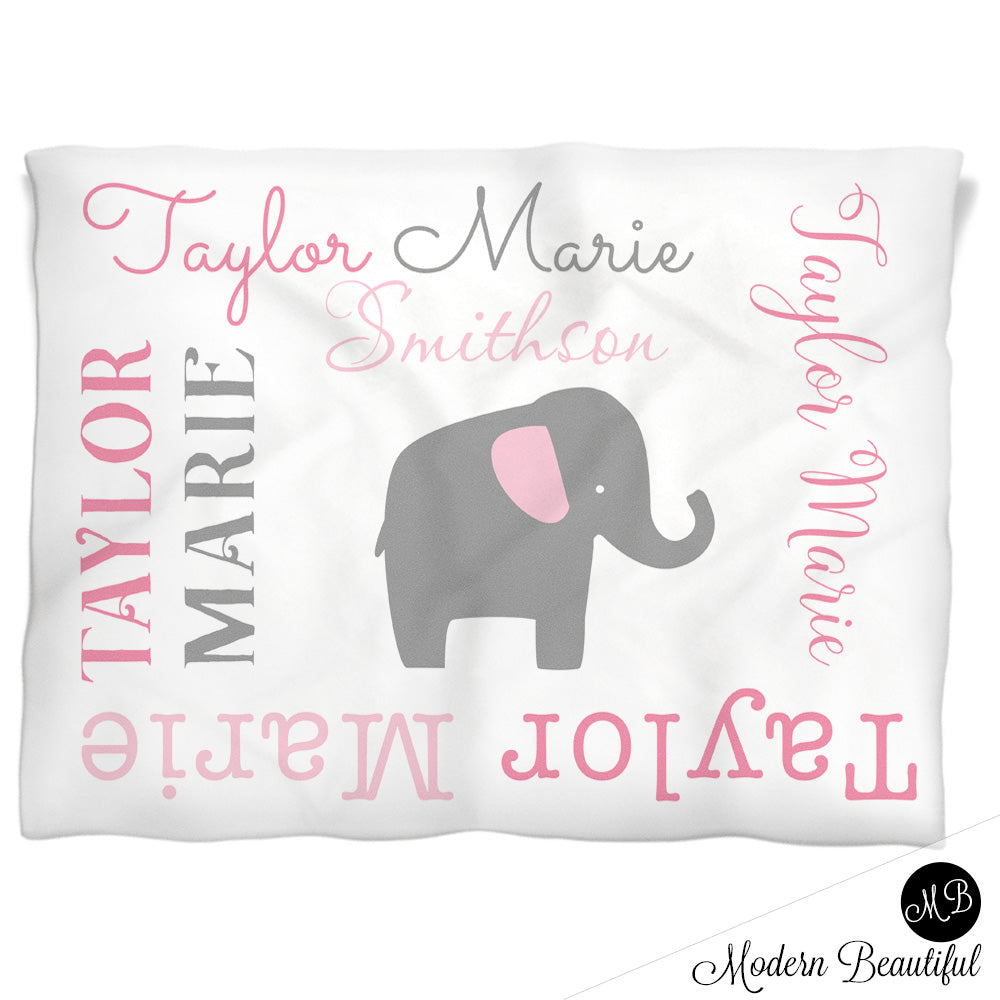 Baby girl elephant name blanket