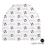 Soccer baby boy or girl car seat canopy covers, soccer baby gift, purple and white, custom infant car seat cover, personalized baby name carseat cover, nursing privacy cover, shopping cart cover, high chair cover (CHOOSE COLORS)