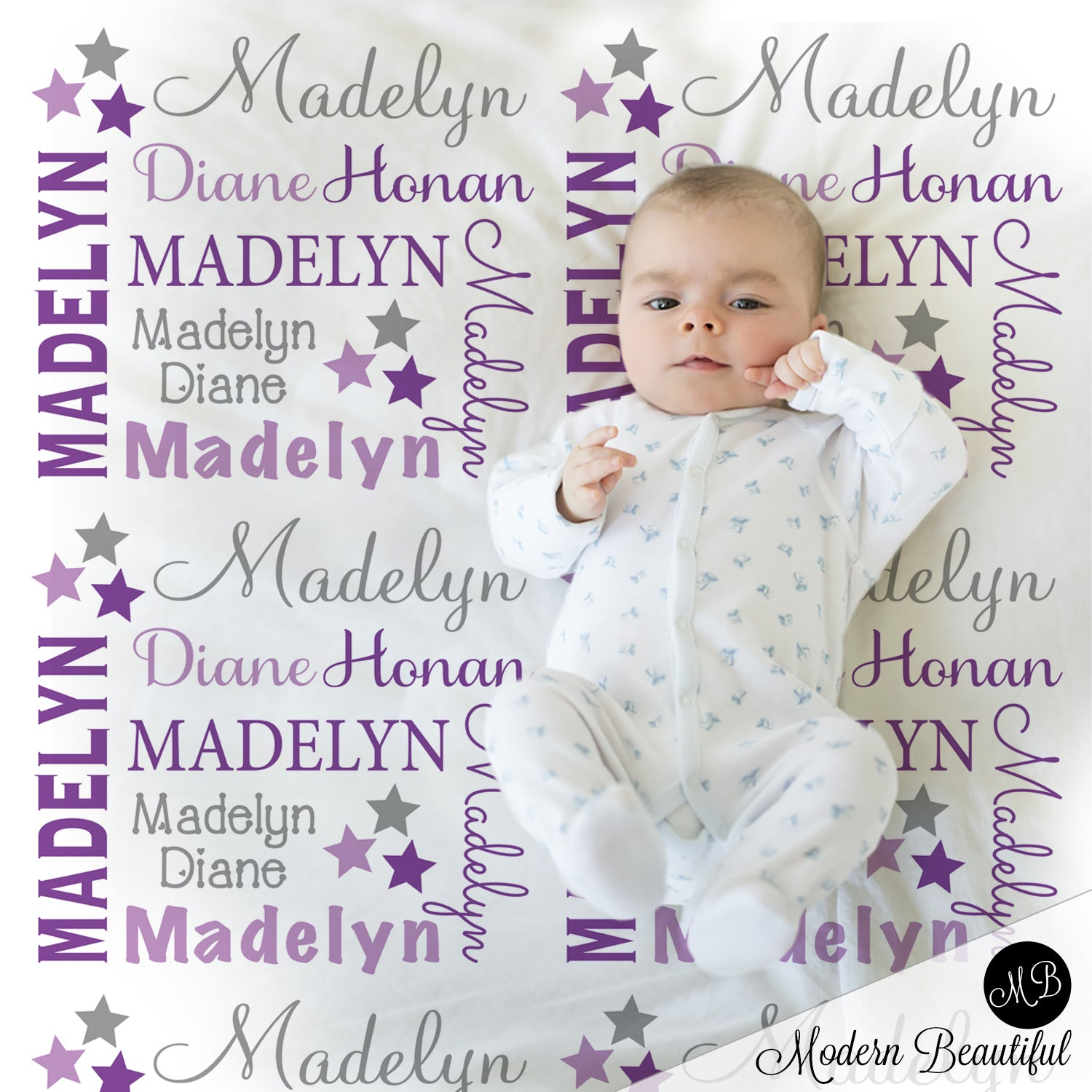 Star Baby Name Blanket Star Personalized Name Blankets Purple And