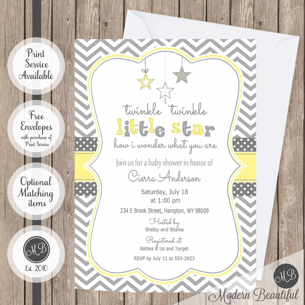 Yellow and gray twinkle twinkle little star baby shower invitation ...