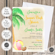 summer beach bash baby shower invitations