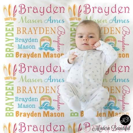 Baby girl surfboard name blanket