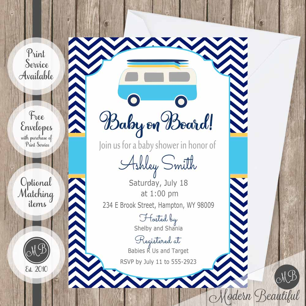 Boy Surfing Baby Shower Invitation Chevron Surfs Up Theme Surfboard