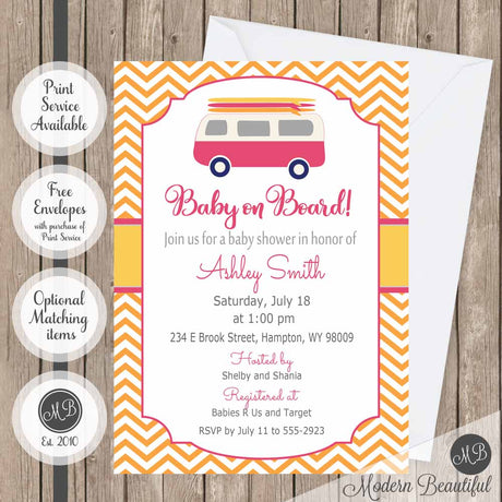 surfboard baby shower invitation