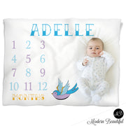 Tattoo baby name milestone blanket