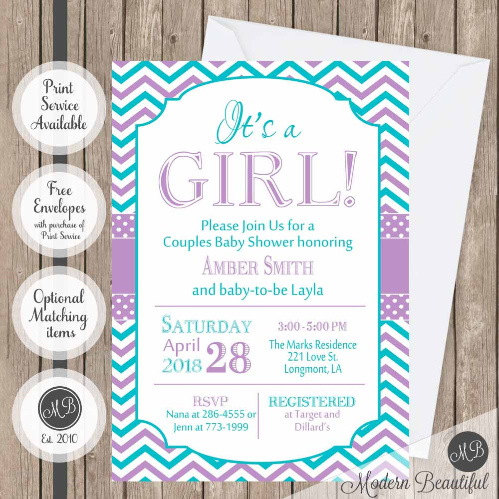 Teal and purple baby shower invitation, girl baby shower invitation ...