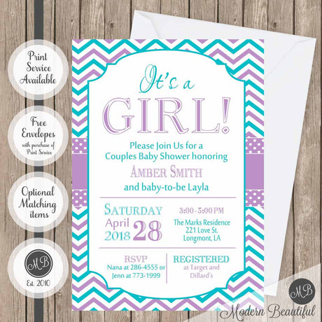 Teal and purple baby shower invitation