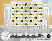 Farm tractor baby boy blanket, yellow and green tractor name blanket, custom farm personalized baby gift, swaddle baby blanket, personalized blanket, boy or girl blanket, choose colors
