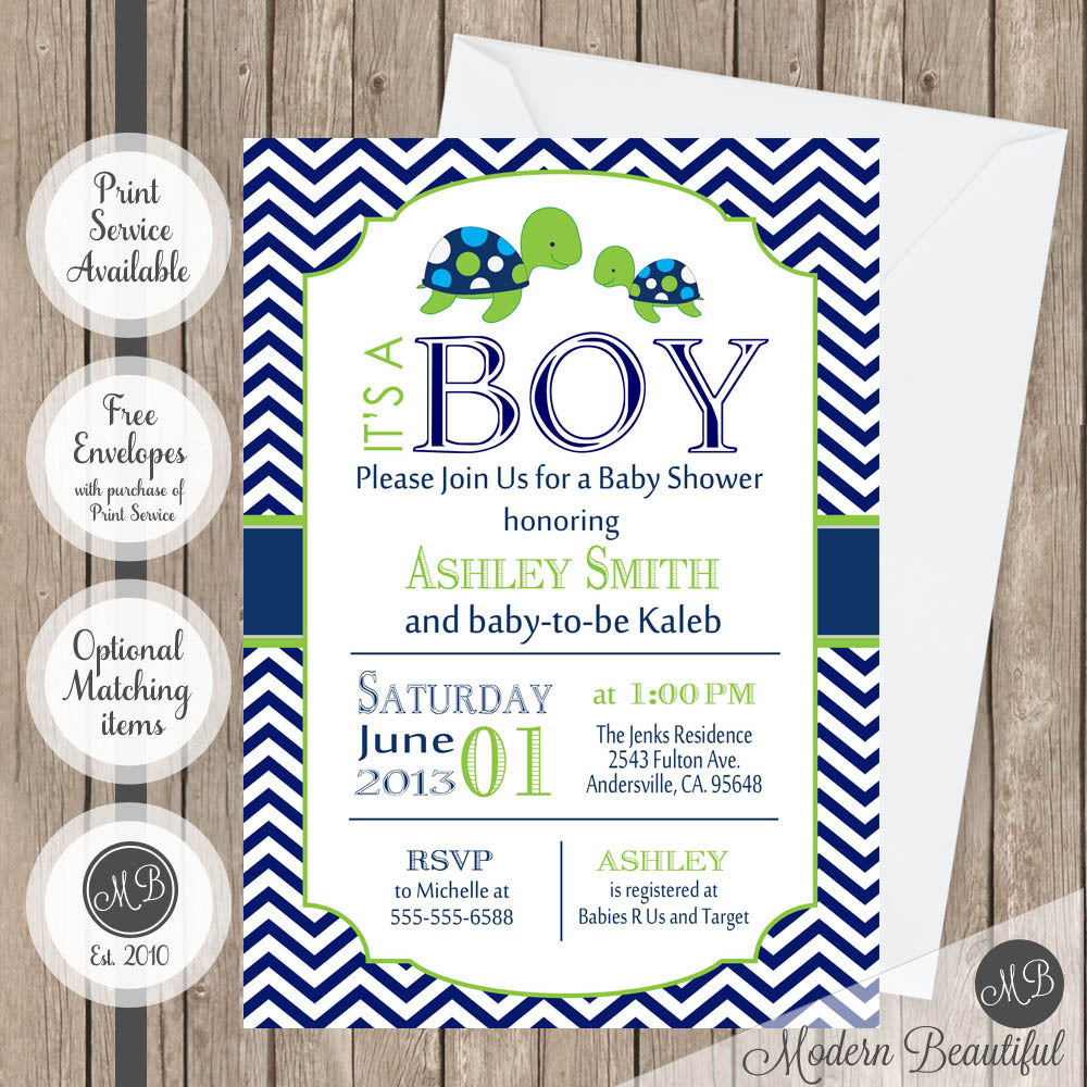Navy and lime green sea turtle boy baby shower invitation, baby ...