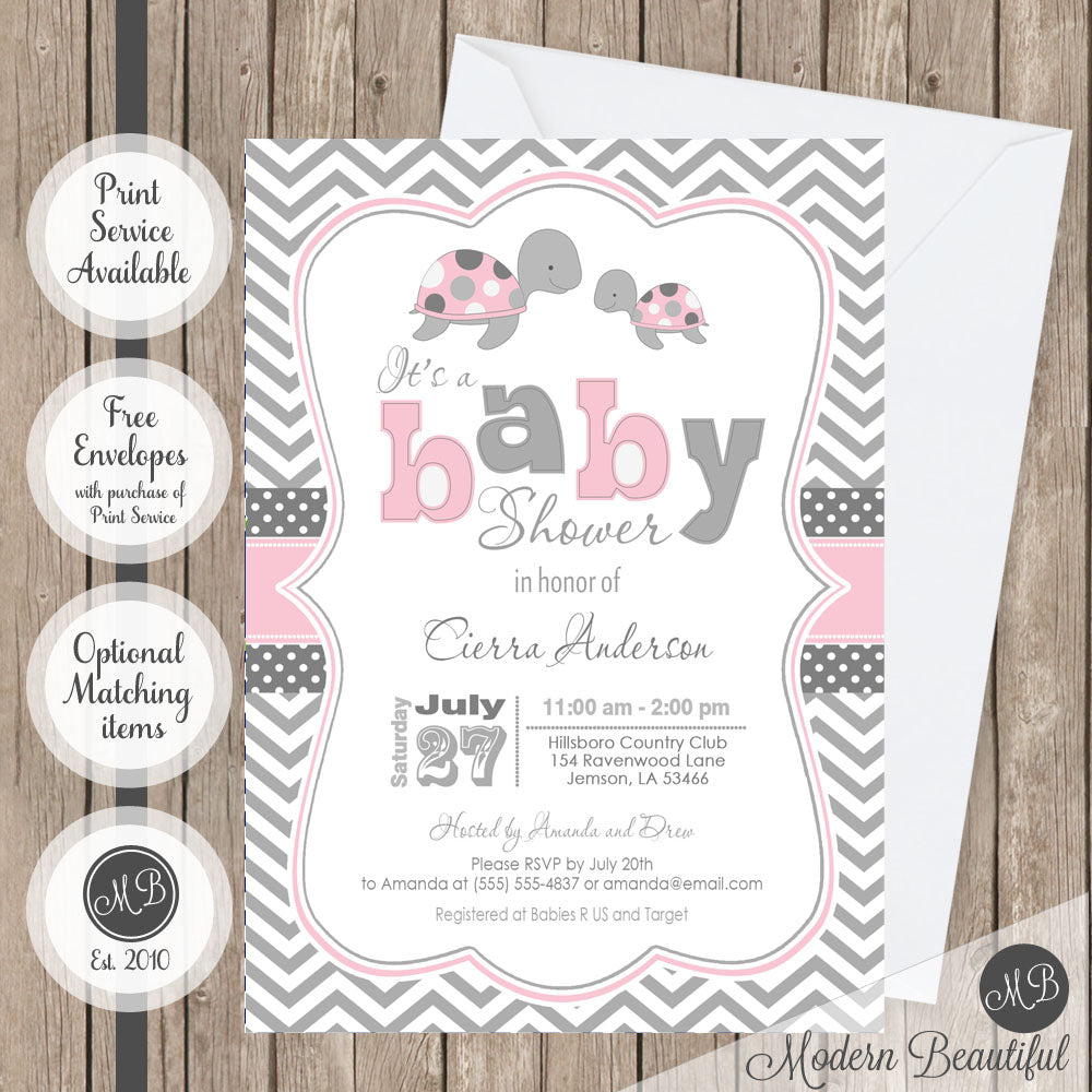 Pink and gray sea turtle baby shower invitation, girl turtle baby ...