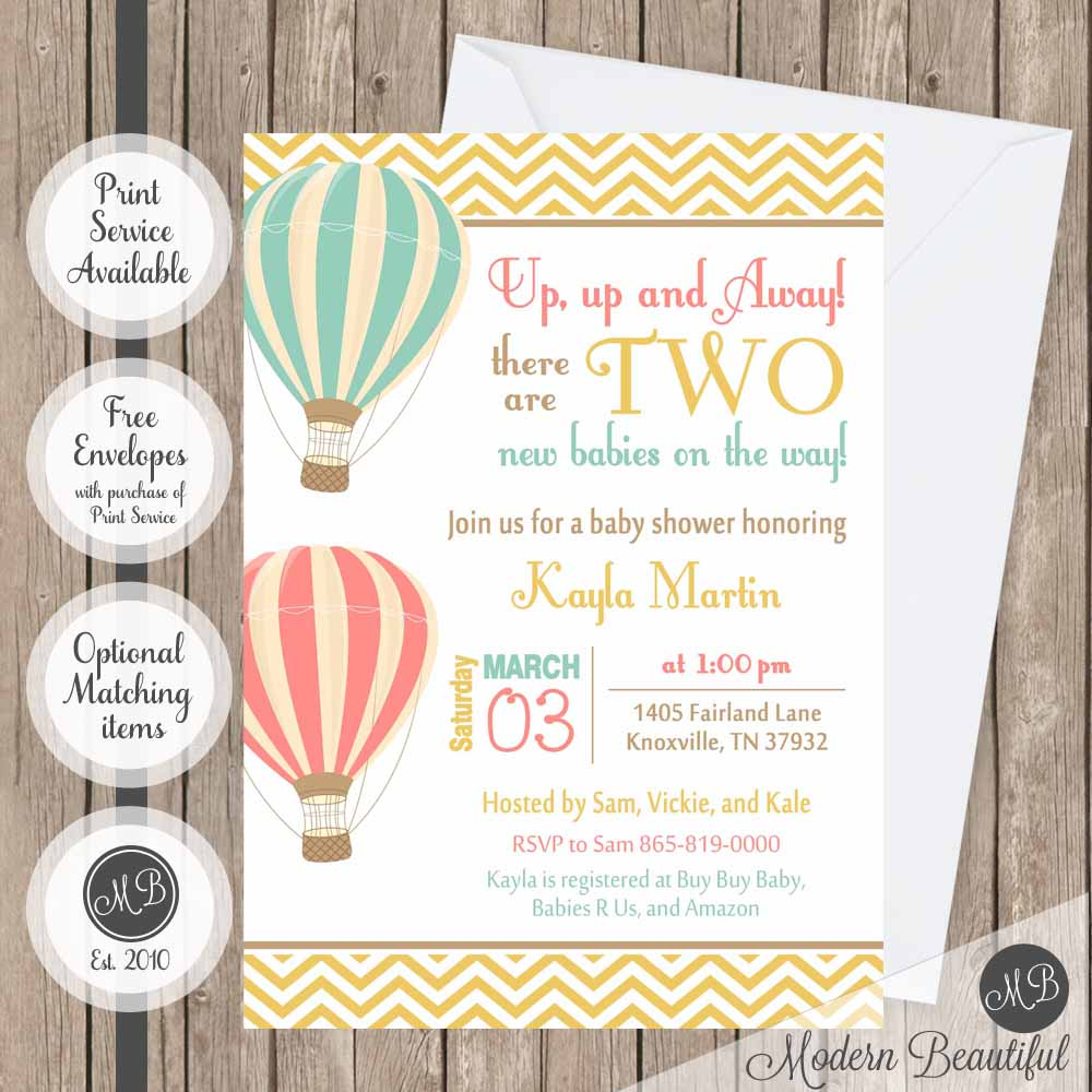 Hot air balloon twin boys baby shower invitation, balloon twin boys ...