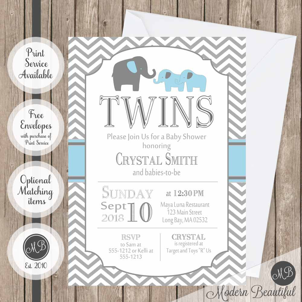 Blue and gray twins baby shower invitation elephant twin boys baby