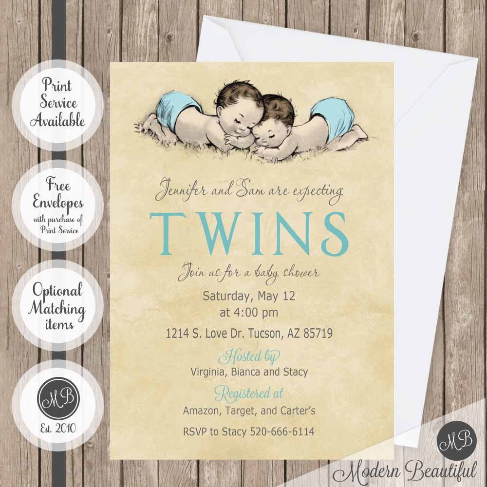 vintage twin baby shower invitations