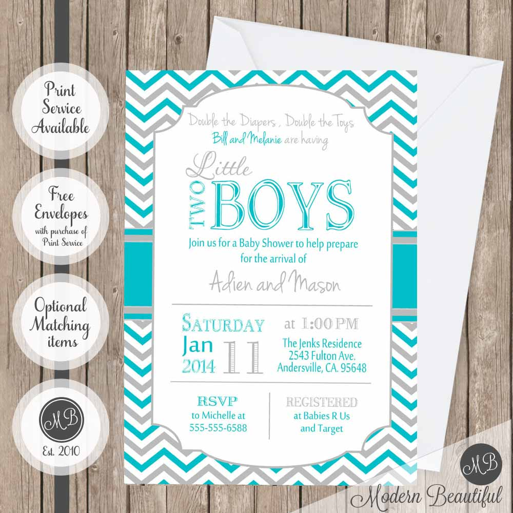 Twin Boys Baby Shower Invitation Blue And Gray Twin Baby Shower Invit Modern Beautiful