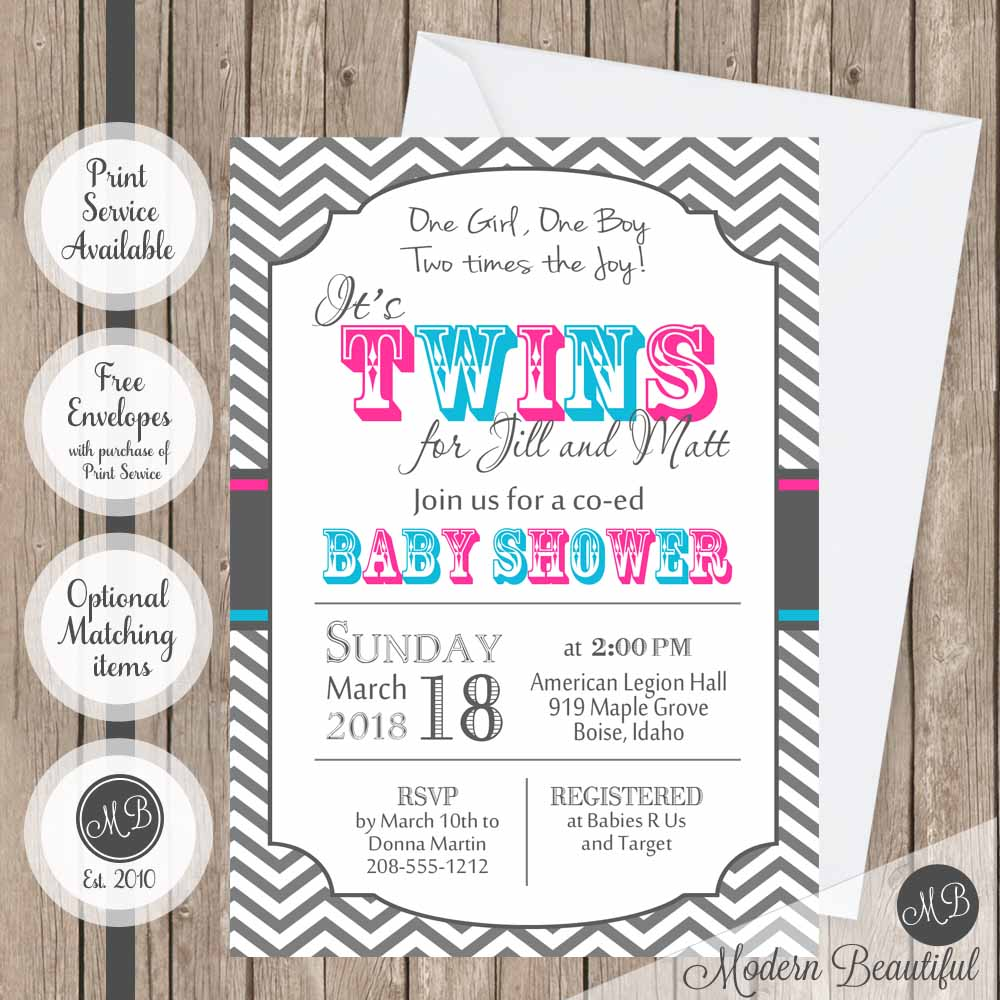 Twin boy and girl baby shower invitation, blue and pink twin baby ...