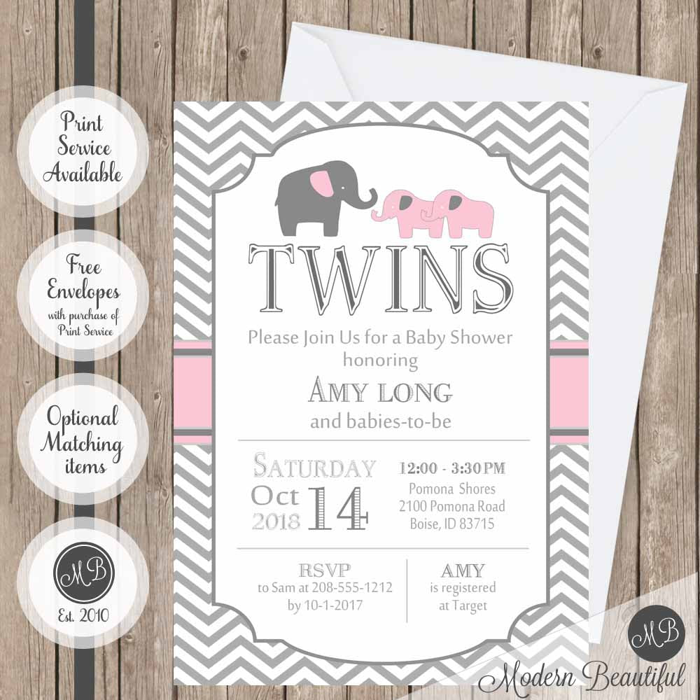 Pink and gray twin girls baby shower invitation, pink elephant twin baby shower invitation, twin girls shower invitation, digital or printed baby shower invitation