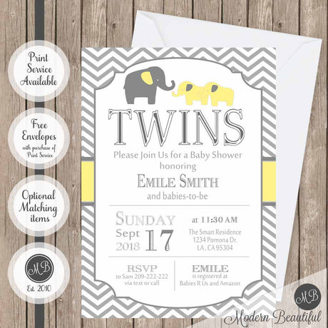 Yellow and gray twins baby shower invitation, gender neutral elephant twin baby shower invitation, twin boys or girls shower invitation, digital or printed baby shower invitation