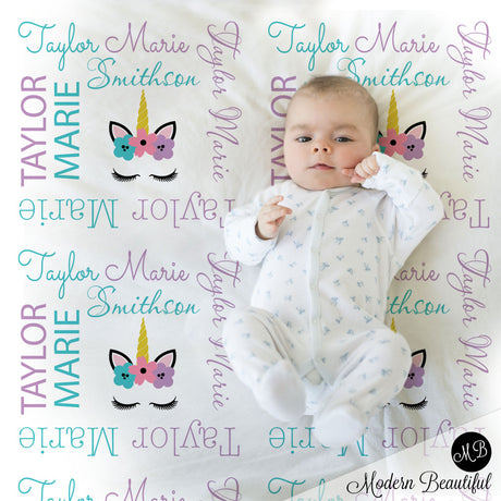 unicorn baby name blanket