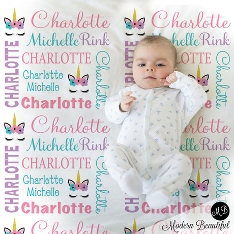 Baby girl unicorn name blanket in pink, aqua and purple, unicorn swaddling blanket, baby girl unicorn lashes blanket, unicorn face blanket, unicorn baby shower gift, (CHOOSE COLORS)