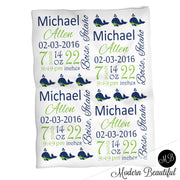Whale baby boy stats blanket, navy and lime, whale boy blanket, personalized whale baby blanket, baby stats blanket, boy or girl stats swaddle blanket, baby shower gift, choose colors