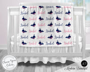 whale baby name blanket