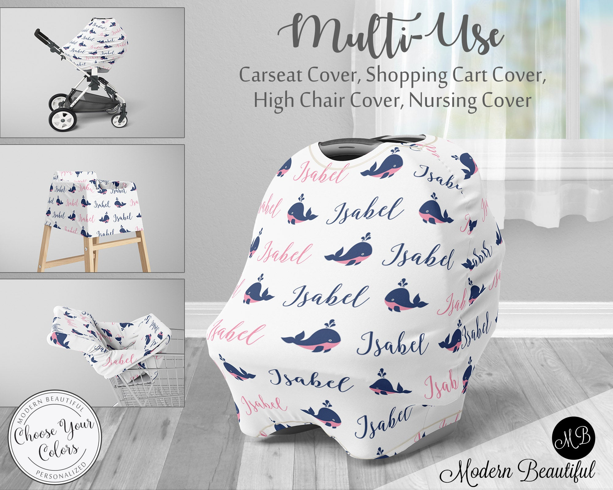 Whale Baby Boy Or Girl Car Seat Canopy Cover Whale Baby Gift