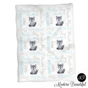 Baby boy wolf name blanket in blue and gray, personalized boy wolf baby gift, wolf blanket, wolf name blanket, personalized blanket, (CHOOSE COLORS)