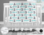 Wolf baby boy blanket, blue and gray wolf name blanket, custom wolf personalized baby gift, swaddle baby blanket, personalized blanket, boy or girl blanket, choose colors