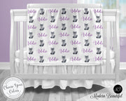Wolf baby girl blanket, purple and gray wolf name blanket, custom wolf personalized baby gift, swaddle baby blanket, personalized blanket, boy or girl blanket, choose colors
