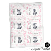 Wolf name blanket in gray and pink for baby girl, girl wolf swaddling blanket, baby girl wolf blanket, wolf blanket, wolf baby shower gift, (CHOOSE COLORS)